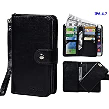 """Case for iPhone 6 6S, xhorizon TM SR [Upgrade] 2 in 1 Leading Design Top Notch Bifold Magnetic Car Mount Phone Holder Compatible Folio Leather Wallet Case for iPhone 6 6S [4.7""""]"""