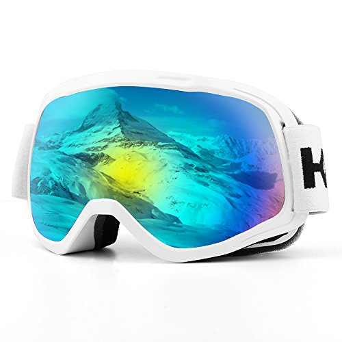 Kids Snowboard Goggles - Ski Goggles, Snow Goggles Snowboard Over Glasses Goggles for Boys & Girls, UV400 Protection and Anti-Fog, Double Spherical Lens Comfortable for Skating Skiing Snowmobiles - White
