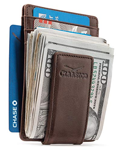 Money Clip Leather Wallet For Men Slim Front Pocket RFID Blocking Card Holder With Super Strong Magnetic (Coffee)