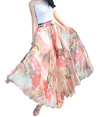 Afibi Women Full/Ankle Length Blending Maxi Chiffon Long Skirt Beach Skirt (Large, Design K(2))