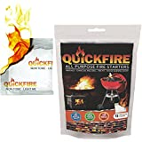 QUICKFIRE Instant Fire Starters. Voted #1 Camping and Charcoal BBQ Fire Starter of 2016, Waterproof, Odorless and Non-Toxic, Starter, 12 Pouches