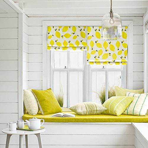 - KARUILU home Quick Fix Washable Roman Window Shades Flat Fold, Geometric Color Pattern (40W x 63H, Lemon)