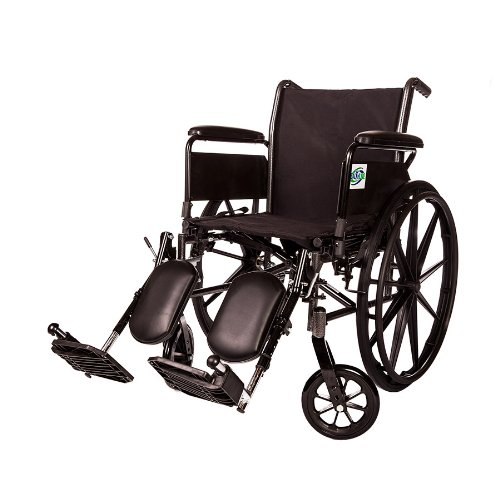(Lightweight Folding Transport Wheelchair by Healthline Trading, Ultra Light Manual Medical Wheelchair, Comfortable Detachable Full Arm and Removable Elevating Legrests, 20 Inch)