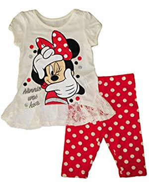 Minnie Mouse Kids Girls 2 Piece Shirt and Pants Clothing Set