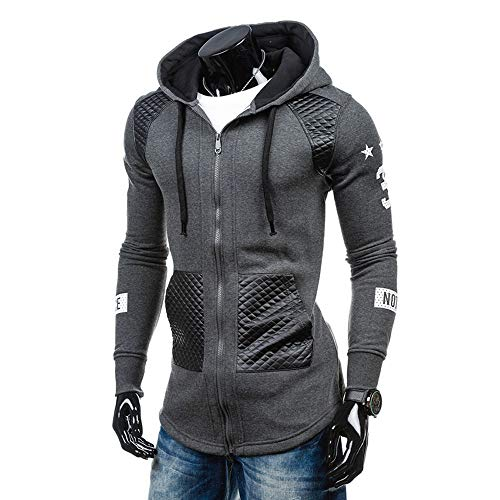 Jacket Leather Shift (Clearance!Dressin_Men's ClothesMen Leather Winter Warm Hooded Sweatshirt Coat Jacket Outwear Sweater GY/2XL)