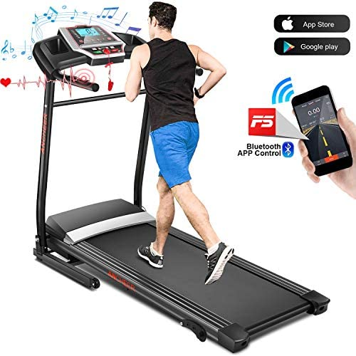 FUNMILY Treadmill, Folding Treadmill with Incline and Bluetooth Speaker, Walking Jogging Running Machine with APP Control for Home Gym, 2.25HP Motor