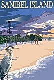 Sanibel Island, Florida - Lighthouse (9x12 Collectible Art Print, Wall Decor Travel Poster)