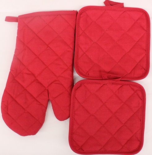 Kitchen Basics Oven Mitt and Pot Holder Set Solid Color (Red) ()