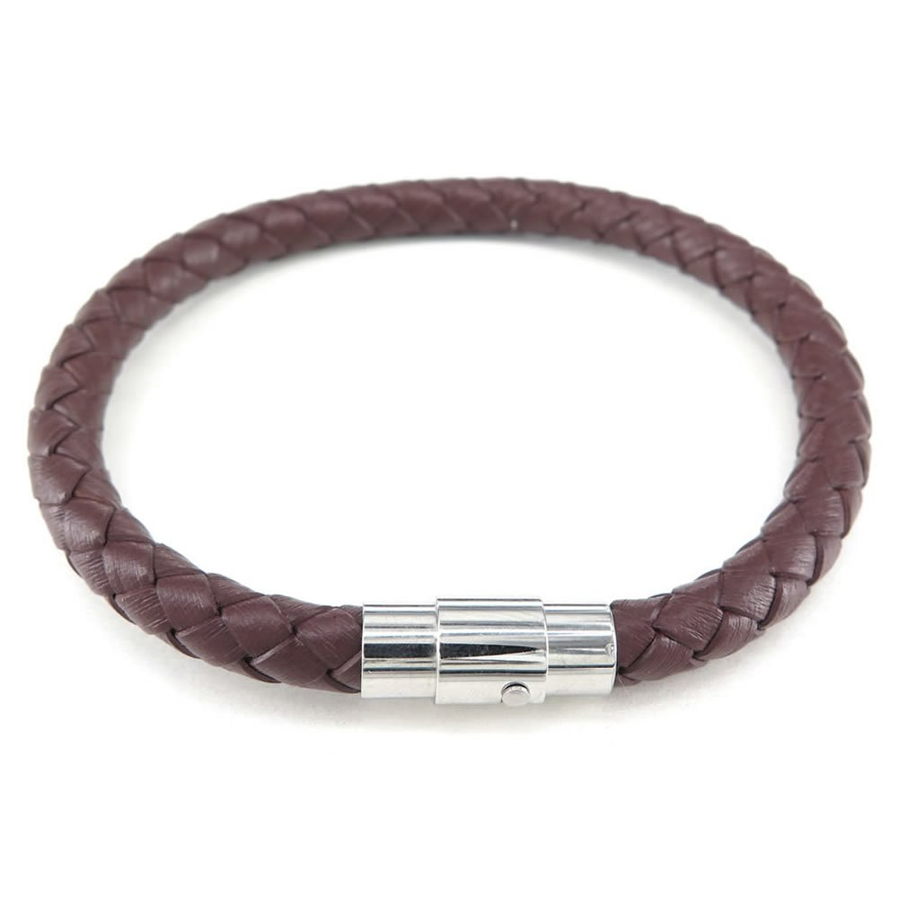 Magnetic Clasp C25273 Black Brown White Konov Jewelry Leather Mens Womens Bracelet 3pcs 6mm Braided Bangle with Gift Bag