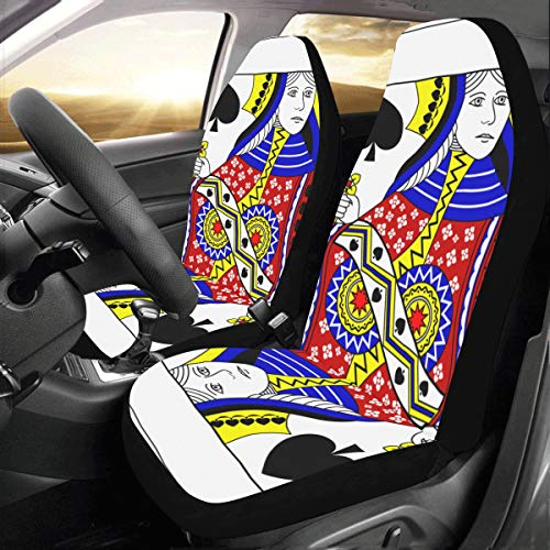 Simple Entertinement Playing Cards Custom New Universal Fit Auto Drive Car Seat Covers Protector for Women Automobile Jeep Truck SUV Vehicle Full Set Accessories for Adult Baby (Set of 2 Front)