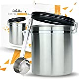 Coffee Canister Airtight Seal Set with Scoop - Stainless Steel Kitchen Storage with AirFresh Valve Technology (Vienna Silver)