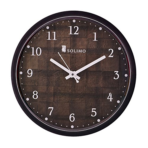 Amazon Brand – Solimo 12-inch Wall Clock – Checkered (Silent Movement, Black Frame)