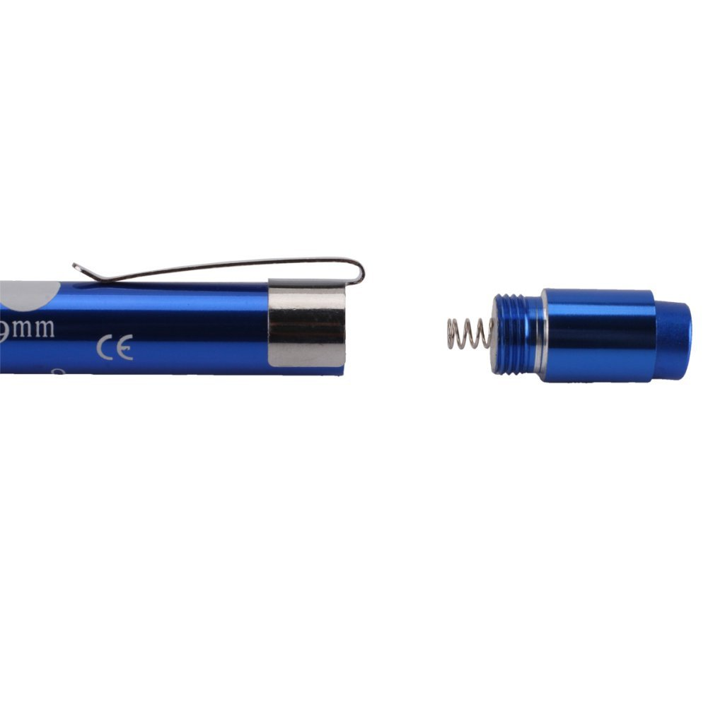 Blue Shell Yellow Light Aluminum Nurse Pen Light Medical Click Penlight Portable Clip Torch