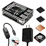 Smraza ASUS Tinker Board Case with Cooling Fan, 2.5A Power Supply with ON/Off Switch, Aluminum Heatsinks(Not Fit for Asus Tinker Board S Version