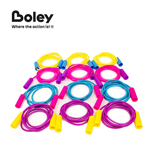 Boley 12 Pack Jump Rope Set - Bundle of Colorful Outdoor Jump Ropes - Great Party Favors Pack for Birthday Gifts, Goodie Bags and Educational PE events