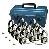 Hamilton Buhl Lab Pack, 12 HA-66M Deluxe Multimedia Headphones in a Carry Case