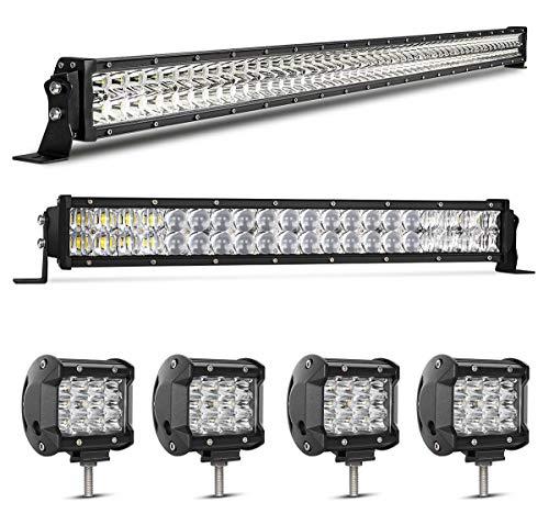 Combo Bar Light (LED Light Bar Kit, Rigidhorse 82000LM 52 Inch 500W + 20 Inch 200W Flood Spot Beam Combo Dual Color Amber/White LED Light Bars + 4PCS 4