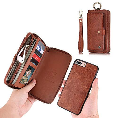 JAZ iPhone 8 Wallet Case / iPhone 7 Wallet Case - Multi-Function Wristlets Zipper Purse Detachable Magnetic 14 Card Slots Money Pocket Clutch Leather Wallet Case for Apple iPhone 8 / 7 / 6S / 6 Brown