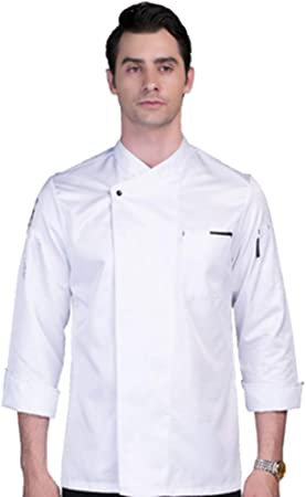 WYCDA Cocina Uniforme Camisa de Cocinero Manga Larga Colores Múltiples Rojo Blanco Negro Camisa de Manga Larga del Chef Duradero Color Sólido,Blanco,XL: Amazon.es: Hogar