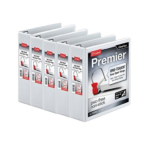 5 Pack - Value Pack Cardinal Premier Easy Open ClearVue Firm Locking Slant-D Ring Business Binder, 3 Ring Durable Office Binder, 1.5-Inch School Binder, White (10310)