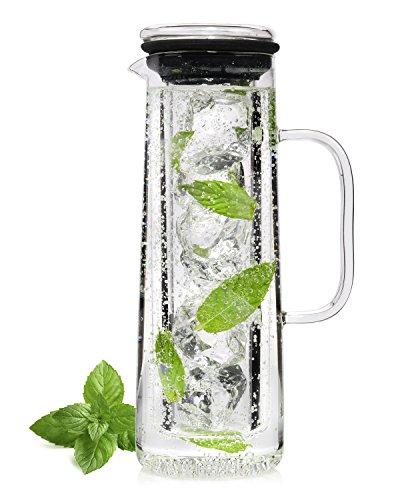 Sänger Karaffe aus Glas mit Eiseinsatz, kalte Ente | Füllmenge 1,1L | Genießen Sie Ihre Lieblingsgetränke eisgekühlt und stilvoll