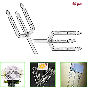 Amazon adorox plastic straight head floral picks cardette adorox plastic straight head floral picks cardette card holder wedding decoration clear 50 pieces junglespirit Gallery