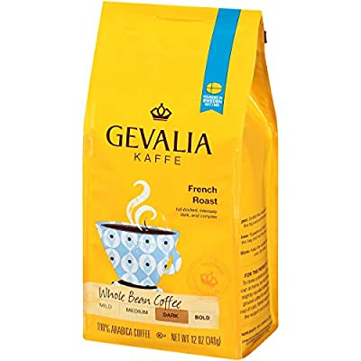 GEVALIA French Roast Coffee, Whole Bean, 12 Ounce, 6 Pack