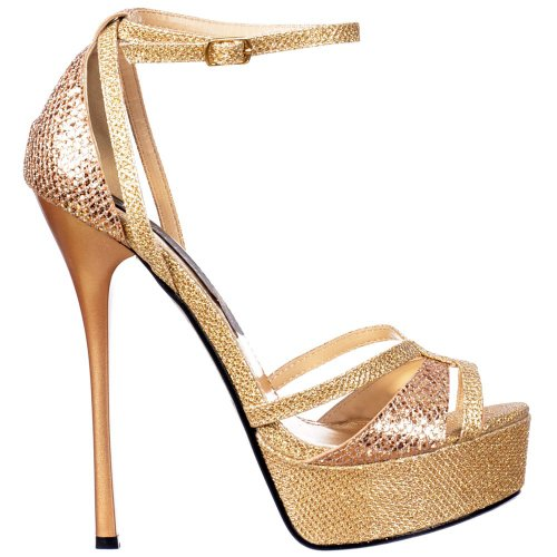 Gold Stiletto Toe Damen Peep Cross Glitter Gold Glänzend Riemchen Over Onlineshoe Glitter Gold Toe EfxUqx0