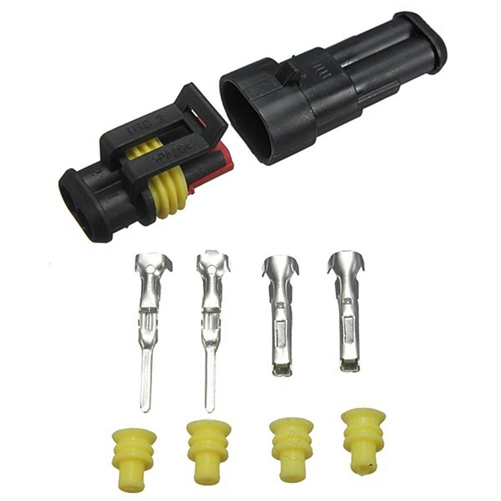Wasserdichtes 2-poliges Steckerset f/ür Kfz-Kabelstecker mit elektrischen Steckern