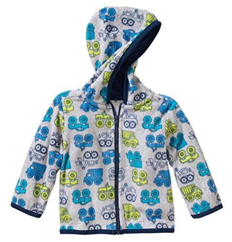 Truck Fleece Sweatshirt - Garanimals Baby Boys' Micro Fleece Zipper Hoodie (Trucks, 12M)
