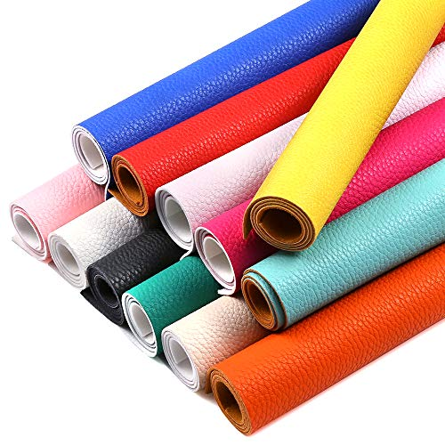 - Caydo 12 Pieces 8.8inch x 12.8inch Synthetic PU Leather Fabric Sheets Thick Cotton Back for Hair Bows Making Craft, Handbag, Protection of Book Cover