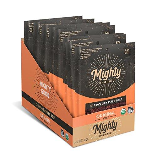 Mighty Organic 100% Grass Fed Beef Jerky, Gluten Free, Healthy Snacks, Original, 2oz (Pack of 8)