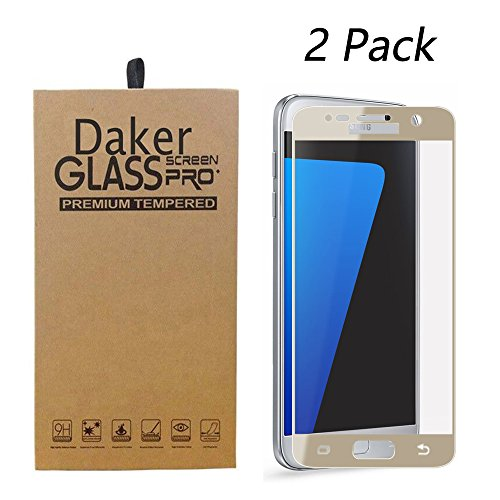 2-Pack Samsung Galaxy S7 Screen Protector, Daker 2.5D Full Coverage Tempered Glass Screen Protector [9H Hardness] Cover for Samsung Galaxy S7 (Gold 2 Pack)