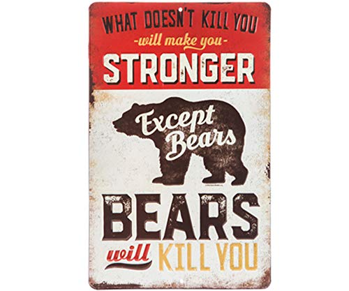 Wisechoice Wall Art Quotes Metal Sign with What Doesn't Kill You Will Make You Stronger Except Bears Bears Will Kill You Word Engraved, 13 Inch L x 9 Inch W