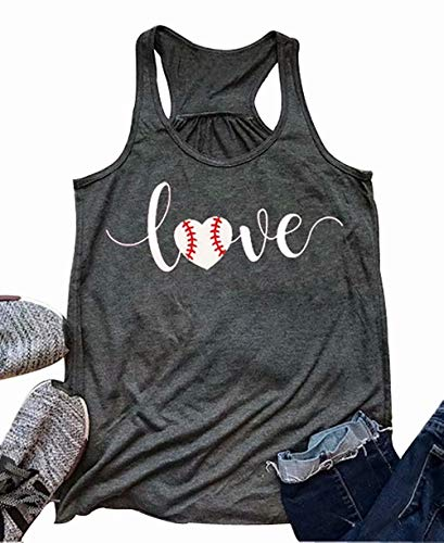 Love Baseball Mom Tank Tops Women Cute Heart Graphic Summer Casual Racerback Sleeveless Shirts Tee Size M (Gray) (Top Love Womens Tank)