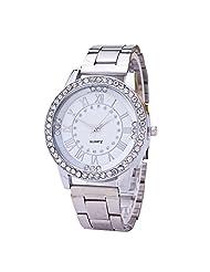 AENMIL Fashion Men Women Alloy Steel Wrist Watch, Roman Dish with Diamond Quartz Watches - Silver