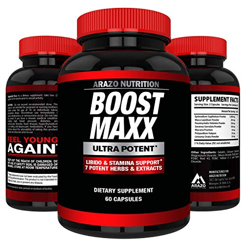 BoostMAXX Male Enhancement Pills - Enhancing Libido, Drive, Performance, Boost Testosterone - Horny Goat Weed Yohimbe Maca 60 Pills Herbal Supplement - Arazo Nutrition