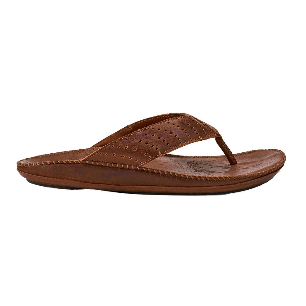 Dark Wood Toffee OluKai Men's Hoe Sandals