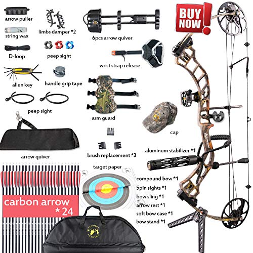 """XGEEK Compound Bow,Compound Hunting Bow Kit,CNC Milling Bow Riser,Limbs Made in USA,19""""-30"""" Draw Length,19-70Lbs Draw Weight,Up to 320FPS, (2 Years Warranty)"""