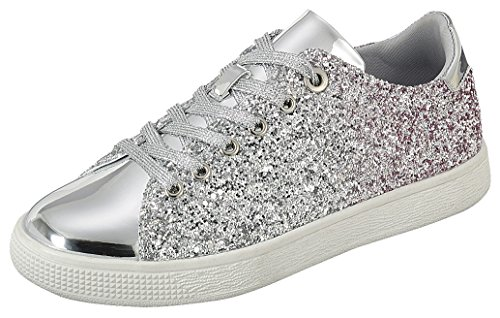 Cambridge Select Women's Closed Round Toe Lace-Up Ombre Glitter Flatform Fashion Sneaker,7 B(M) US,Silver ()