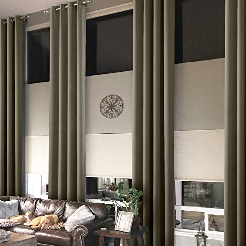 Prim Extra Long Blackout Curtains Grommet 204Inch Length Thermal Insulated Room Drakening Window Treatment Draperies and Curtain, Olive, 1 Panel