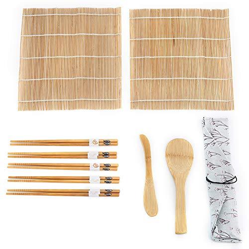 Kit de Fabricación de Sushi Bamboo, Paquete de 9 Piezas Incluye 2 Esteras Giratorias 5 Palillos 1...