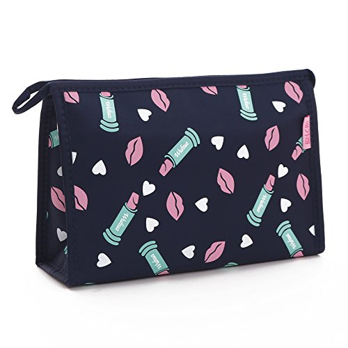 (Waterproof Fabric Cosmetic Bags Portable Travel Toiletry Pouch Makeup Organizer Clutch Bag with Zipper,Navy)