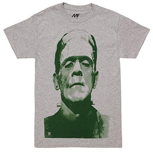 Frankenstein Big Frank Head Adult T-shirt - Heather Grey (X-Large) (Big Frank Halloween)
