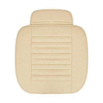 2 Paquete de Cubierta de Asiento Delantero HCMAX Cuatro Estaciones Respirable Amortiguador de Asiento Interior del Coche Cubrir Almohadilla Estera Cuero de PU Carb/ón de Bamb/ú
