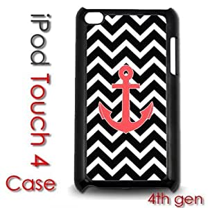 For Case Samsung Galaxy Note 2 N7100 Cover Plastic Case - Black Chevron Stripes With Pink Anchor