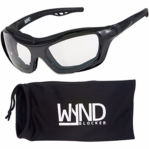 WYND Blocker Motorcycle Riding Glasses Extreme Sports Wrap Sunglasses (Black/Clear)