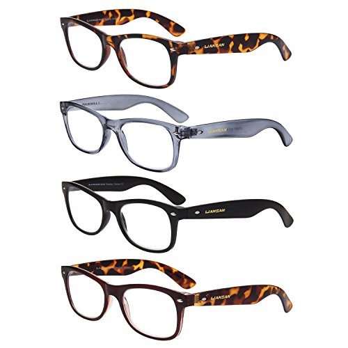 LianSan 4 Pairs Reading Glasses with Wayfarer Readers for Comfort fit Men and Women - Wayfarer Readers