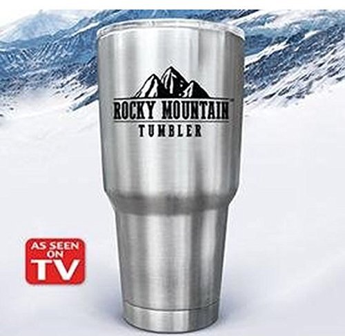 Rocky Mountain Tumbler 30oz Stainless Steel Clear Lid Vacuum