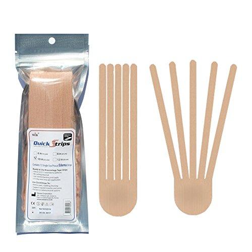 Nasara QuickStrips Precut Kinesiology Tape Strips - 10'' Edema Pattern - 15 Pack: Beige by Nasara